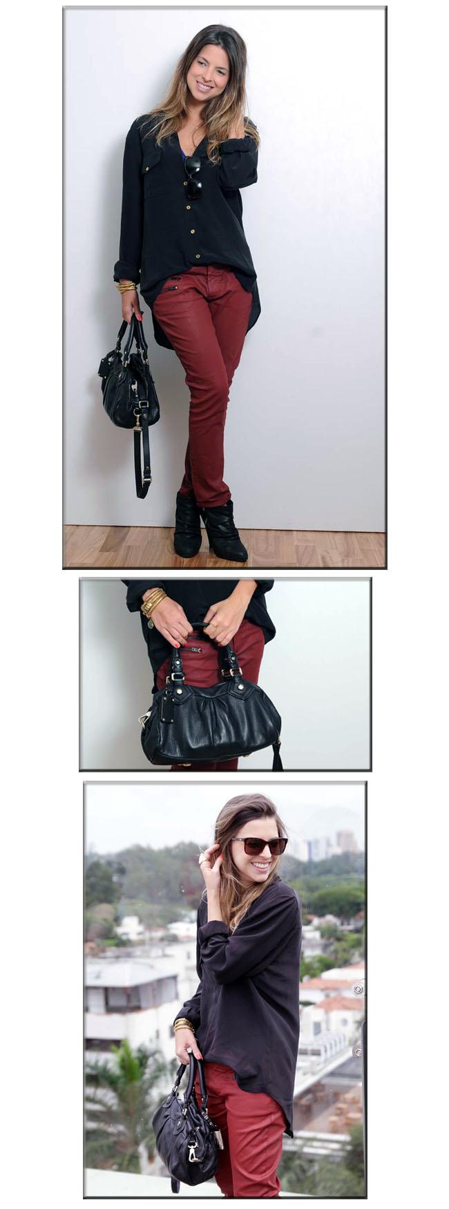 Look, look do dia, Animale, Marc Jacobs, Maria Bonita Extra, Tigresse, camisa de seda, Zara, anckle boots, calça vernelha