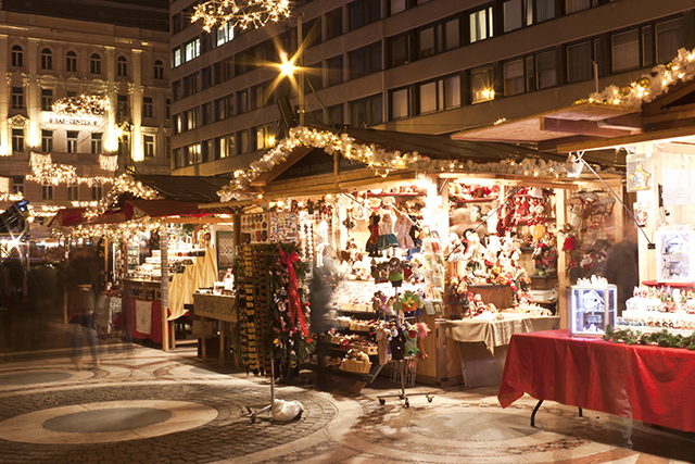 Budapest, Hungary - December 5, 2014: Christmas fair stands on the Saint Stephen square before the Basilica in Budapest