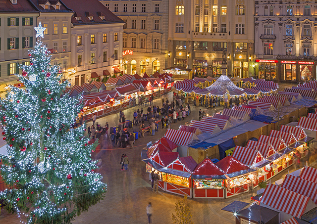 Bratislava: Christmas market on the Main square in evening dusk.