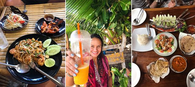 Banana pankake (em barraquinha narua) /Mango sticky rice (no mango Gardenem PhiPhi)