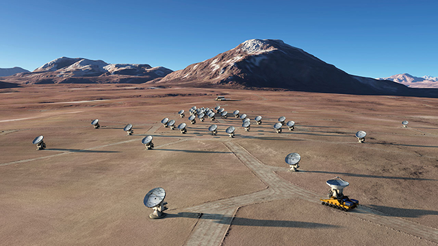 Artist rendering of the Atacama Large Millimeter/submillimeter Array (ALMA), in an extended configuration.