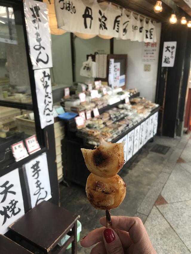 Mochi (sem recheio) - barraca na rua em Kyoto
