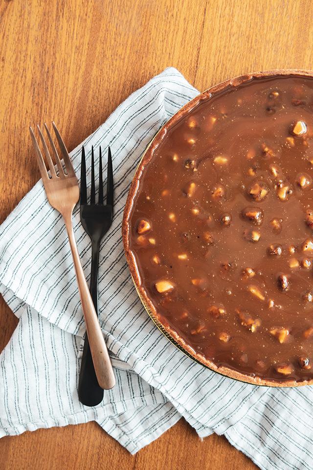 Torta de Chocolate, Caramelo e Castanhas